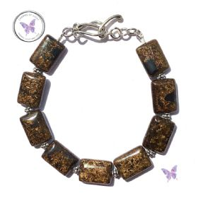 Bronzite Rectangles Bracelet With Silver Toggle Clasp